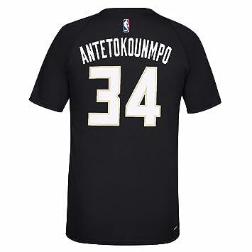 Adidas Giannis Antetokounmpo Milwaukee Bucks NBA Reproductor de Color Negro N & N Jersey Climalite Camiseta