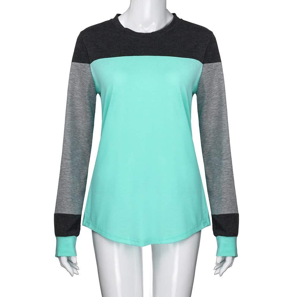 ❤ Tefamore Camiseta Personalizada Mujer, 2018 Blusas para Mujer, Tops Largas de Béisbol de Moda, Mujer Larga Manga Moda Tops Bloquear Stitching Camiseta ...