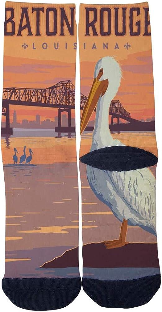 Mens Womens Casual Baton Rouge Louisiana Travel Poster Socks Novelty Custom Socks Hip Hop Cartoon Socks Elite Crew Socks