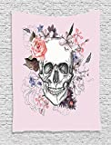 asddcdfdd Skulls Decorations Collection, Skull and Blooms Catholic Popular Ceremony Celebrating Artistic Vintage Design, Bedroom Living Room Dorm Wall Hanging Tapestry, Soft Salmon White