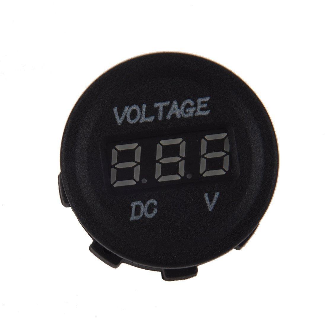 Voltage Meter - TOOGOO(R) DC 12V-24V Motorcycle LED Digital Display Voltmeter Voltage Meter Round Panel(Red LED Display)