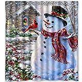 Snowman Shower Curtain Shower Curtain Gotd Custom Merry Christmas Snowman Fabric Waterproof Bathroom Shower Curtain 66 x 72 (Mutilcolor)