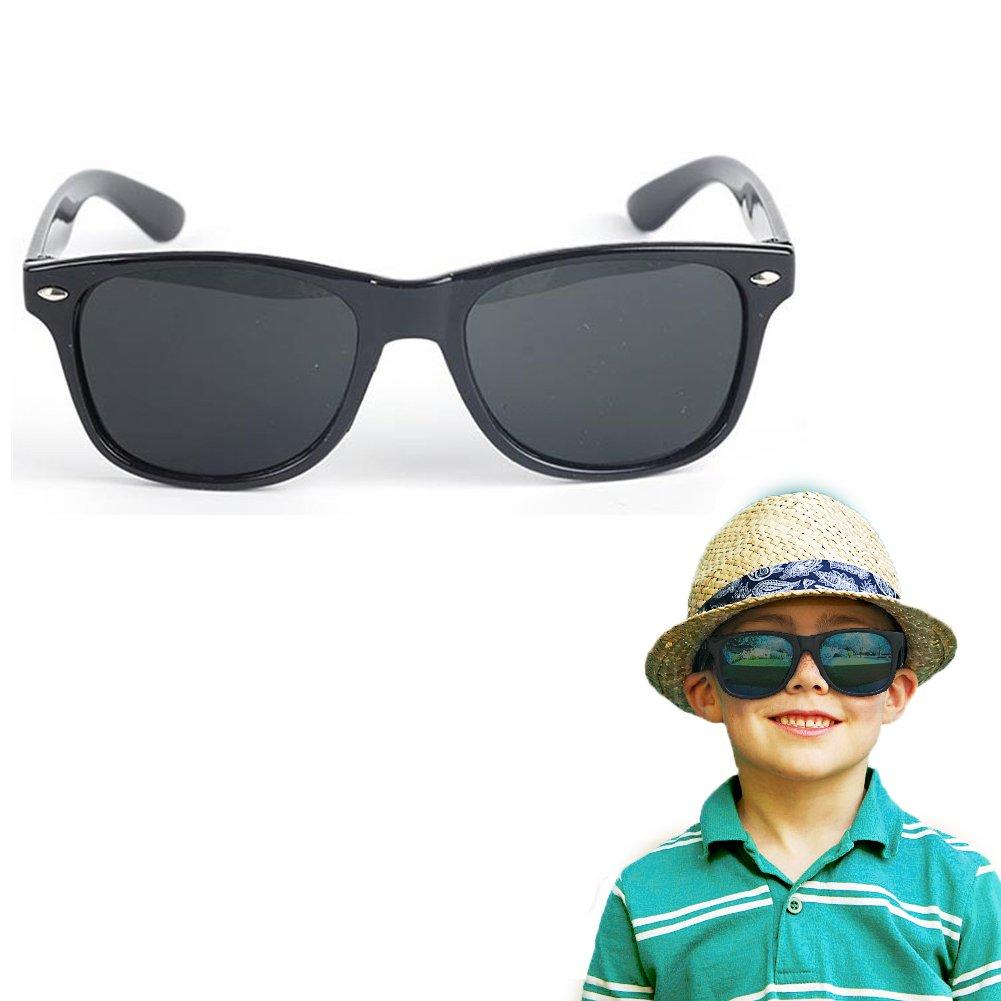 Hacloser Children Sunglasses UV 400 Protection Rivet Eyewear Retainer for Kids Outdoor Sport Glasses (Black)