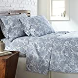 Southshore Fine Linens - Perfect Paisley Boho Collection 4 Piece Sheet Sets, Full, White with Blue Paisley