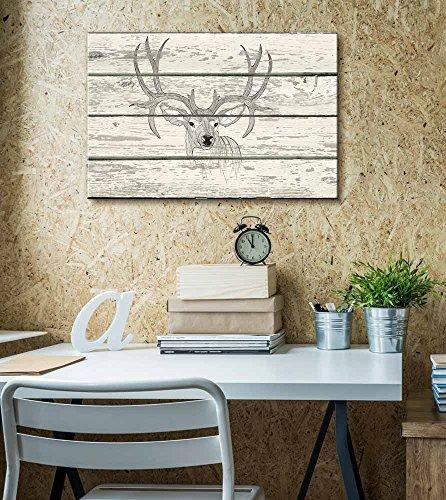 Contour Drawing of Stag Deer Antlers Artwork Rustic