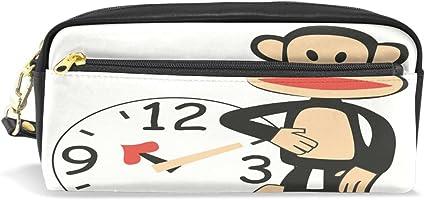 Estuche de piel con cremallera para lápices, diseño de Paul Frank: Amazon.es: Oficina y papelería