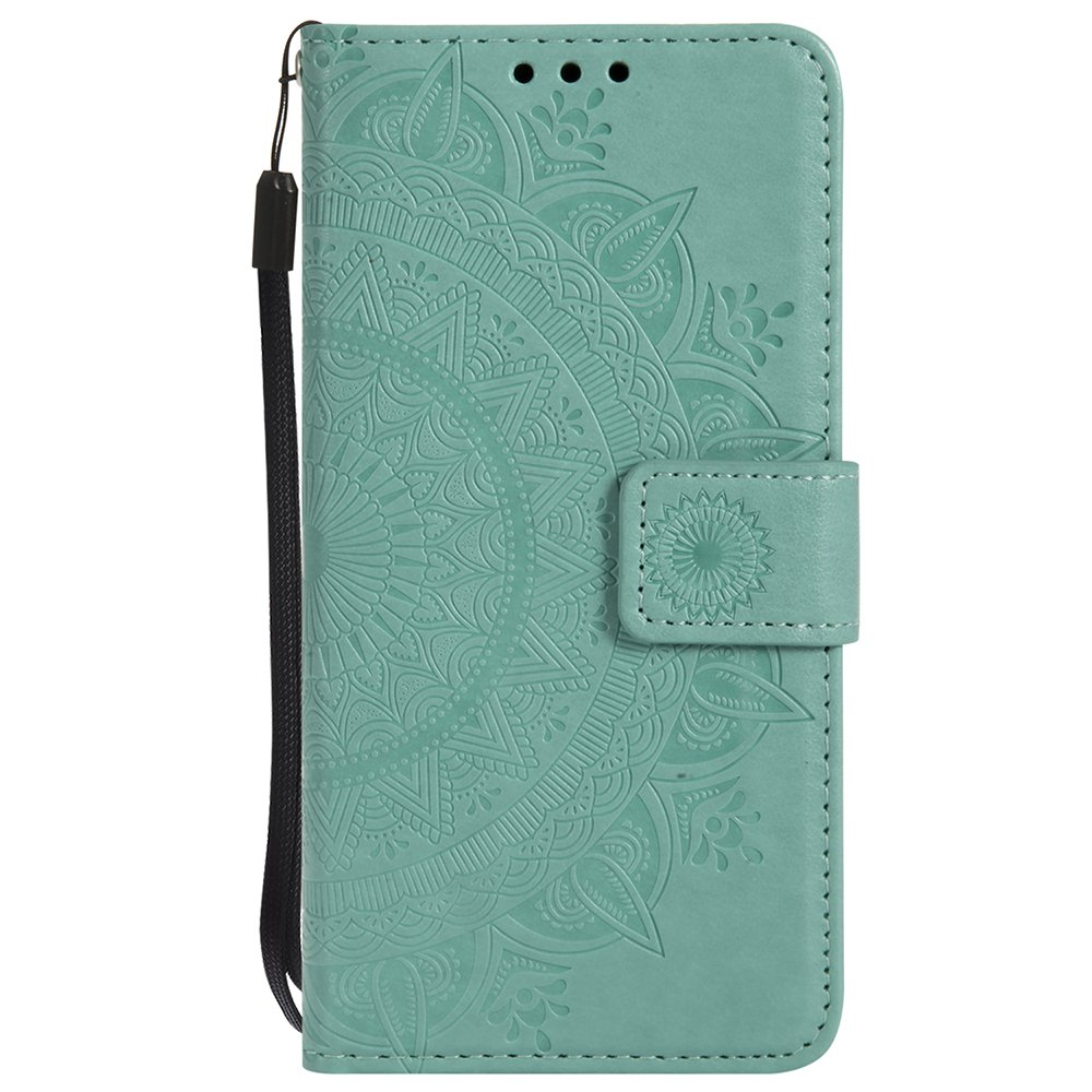 P9 Lite Mini Case, Huawei Y6 Pro 2017 Cover [Free 2 in 1 Stylus Pen + Wrist Strap], Shockproof Retro PU Leather Mandala Flower Wallet Case For Huawei P9 Lite Mini/Y6 Pro 2017/Enjoy 7, Mint Green