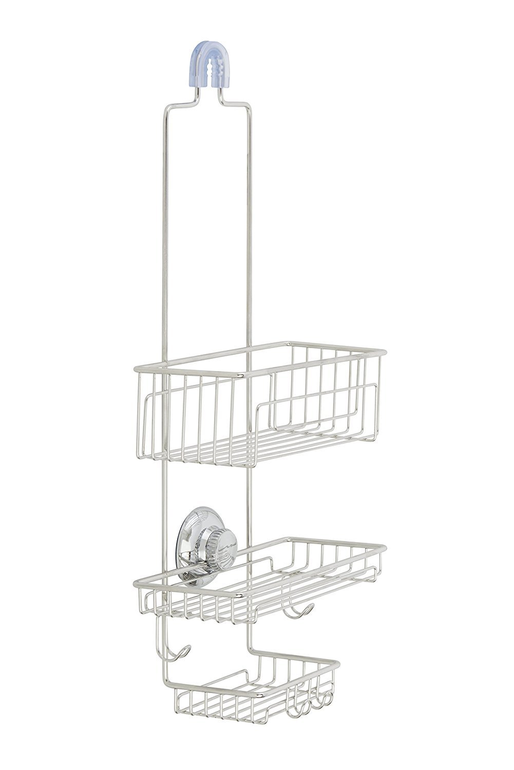 Gecko-Loc Over the Shower Head Tall Shower Caddy Organizer with Super Suction Cup & Shower Head Hanger - Stainless Steel Rustproof Pinnacle Brands SHS-015