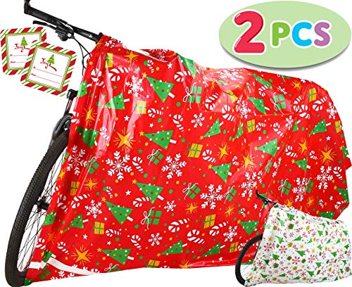 """2 PCs Jumbo Christmas Gift Bags 60"""" x 72"""" with Gift Tags for Heavy Duty Large Gifts Bags, Holiday Presents Bicycle, Christmas Season Gift Decorations, Holiday Gift Giving."""