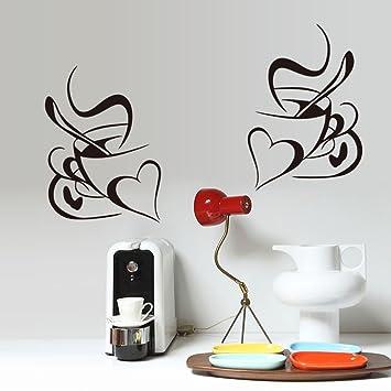 ufengke Kreative Herz Kaffeetasse Wandsticker, Küche und Esszimmer  Entfernbare Wandtattoos Wandbilder