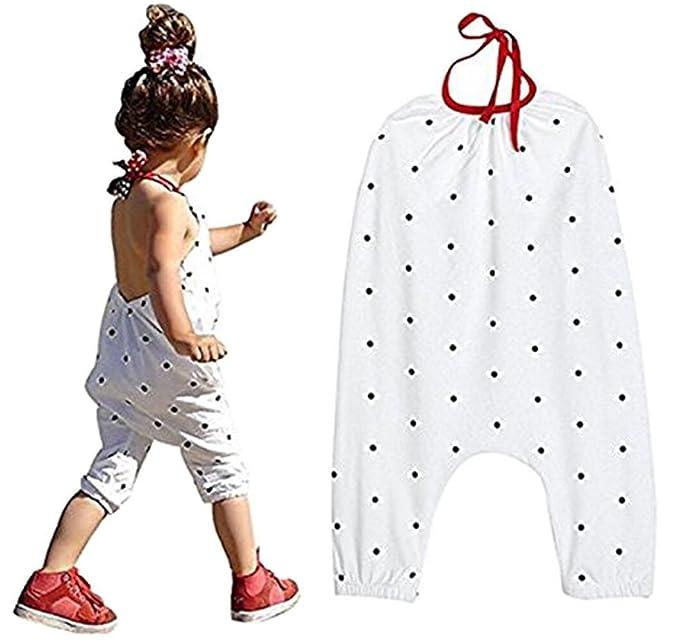 Amazon.com: Little bebé niñas verano tirantes Lunares Romper ...