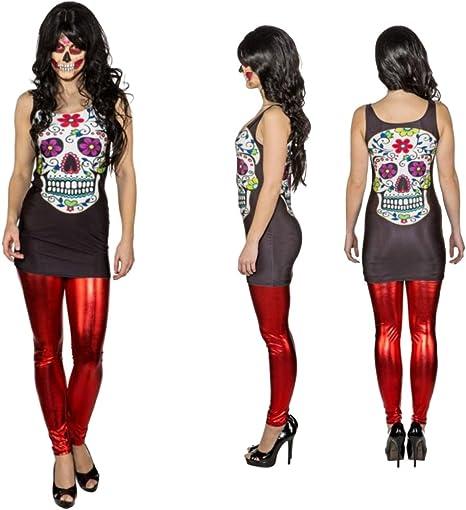 NET TOYS Vestido Sexy Sugar Skull Minivestido Día de los Muertos S ...