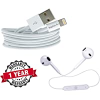 Raptas Long 8Pin Fast USB Data Sync and Charging Cable& Sweatproof S6 Wireless Stereo Music Headset Long Battery Backup with Mic for iPhone 5 5S 6 6S 6+ 6S+ 7 7+ Plus