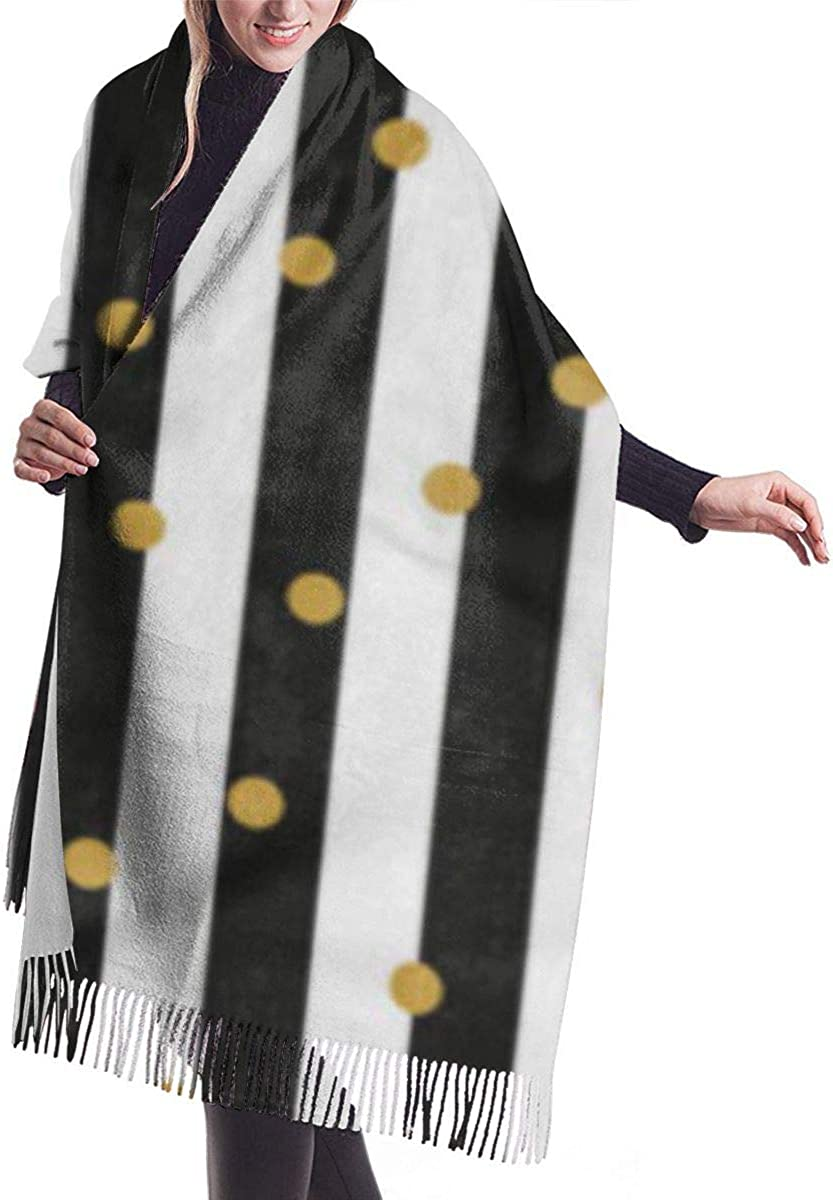 Soft Cashmere Scarf For Women Pattern Black And White Stripes Gold Circles Striped Abstract Confetti Fashion Lady Shawls,Comfortable Warm Winter Scarfs