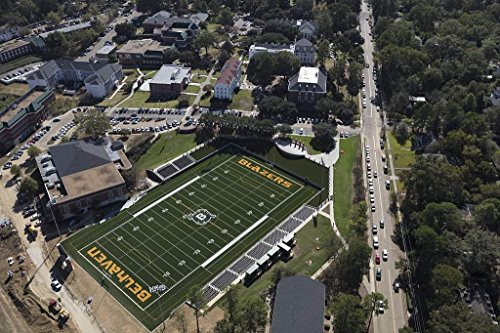 Photo| Aerial view of Jackson, Mississippi, focusing on the Belhaven High School stadium in the city's Belhaven neighborhood which is the home field of the Belhaven Blazers football team 66in x 44in