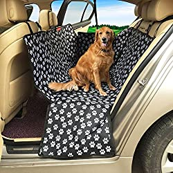 Dog Seat Cover MATCC Car Seat Cover for Pet, Waterproof Hammock Bench Seat Protector with Zippered Side Flap and Adjustable Straps for Most Cars, Trunks and SUVs