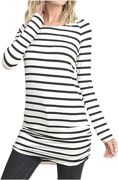 beautyjourney Camiseta Mujer Rayas Vestido Túnica Tops Blusa Casual de Manga Larga de Corte Slim Camisa Larga con Cuello Redondo: Amazon.es: Ropa y accesorios