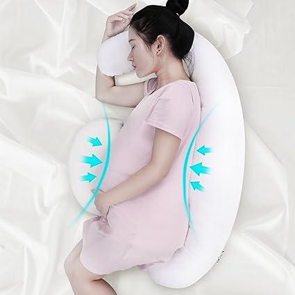 LANGRIA Almohada de Embarazo, Cojín de Lactancia, Diseño Ergonómico y Contorneado de Forma como