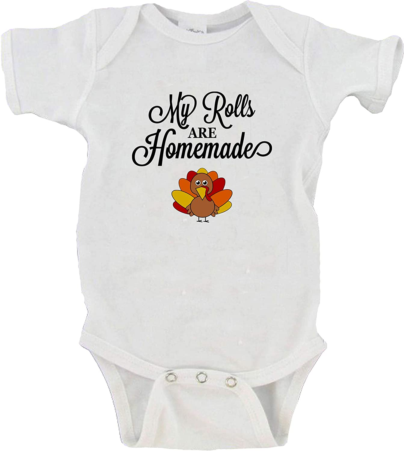 Baby Girl Outfit Handmade Gift Thanksgiving My Rolls are Homemade Funny 3 Piece Set with Tutu and Headband