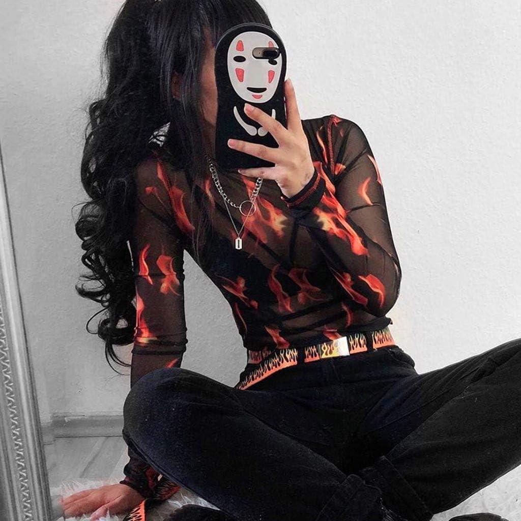 Xinantime Women Mesh Blouse Long Sleeve Starry Fire Print Perspective Short Top