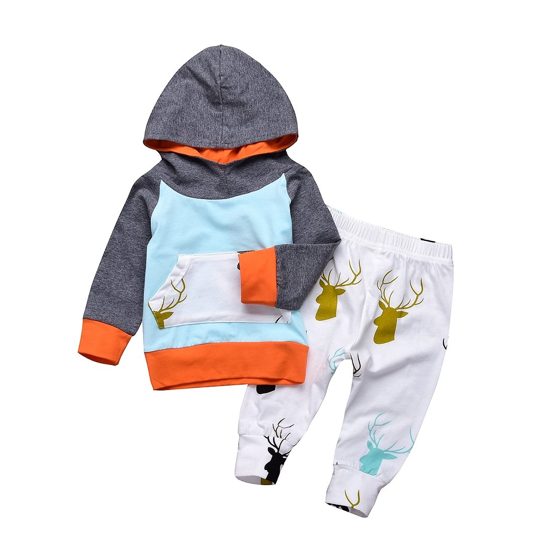 CPEI Toddler Infant Baby Boys Deer Long Sleeve Hoodie Tops Sweatsuit Pants Outfit Set
