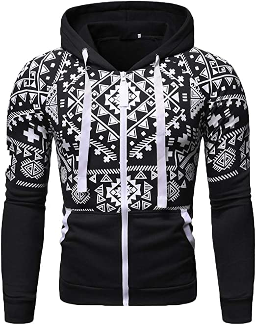 Mens Fashion-Sweatshirts Beautyfine Long-Sleeved Hoodies Pullover Round Neck Solid Color Printing Sweater Tops Blouse