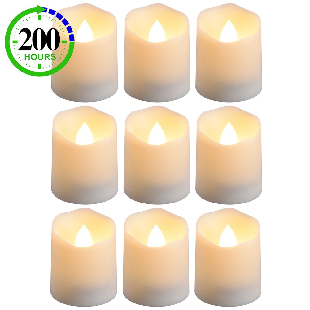 PChero Timer Candles, 9pcs Battery Operated Votive Tea Lights Candles with Timer, Perfect for Birthday Wedding Home Decor, 200 Hours (Batteries Included) - [Warm White]