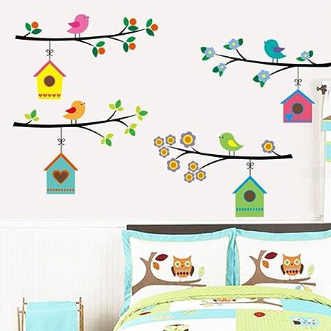 Wallpark Dessin Anime Petit Oiseau Cages Arbre Branche Amovible