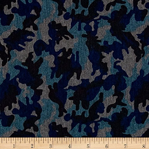 Blue Camo Fabric (Telio Polyester Rayon Ponte Knit Camo Blue/Black Fabric By The Yard)