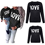 Mommy and Me Love Print Long Sleeve Pullover Tee Tops Family Matching Casual Sweatshirt T-Shirt Clothes Outfits