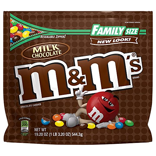 M&M'S Milk Chocolate Candy Family Size 19.2 Ounce Bag (Pack of 12)