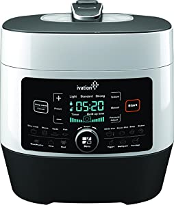 Ivation 8-In-1 Programmable Multi-Function Pressure Cooker; Steamer, Slow Cooker, Rice Cooker; High Grade Stainless Steel 6.3 Q Iner Pot, 14 Preset Cooking Styles, 1000W Power (White)