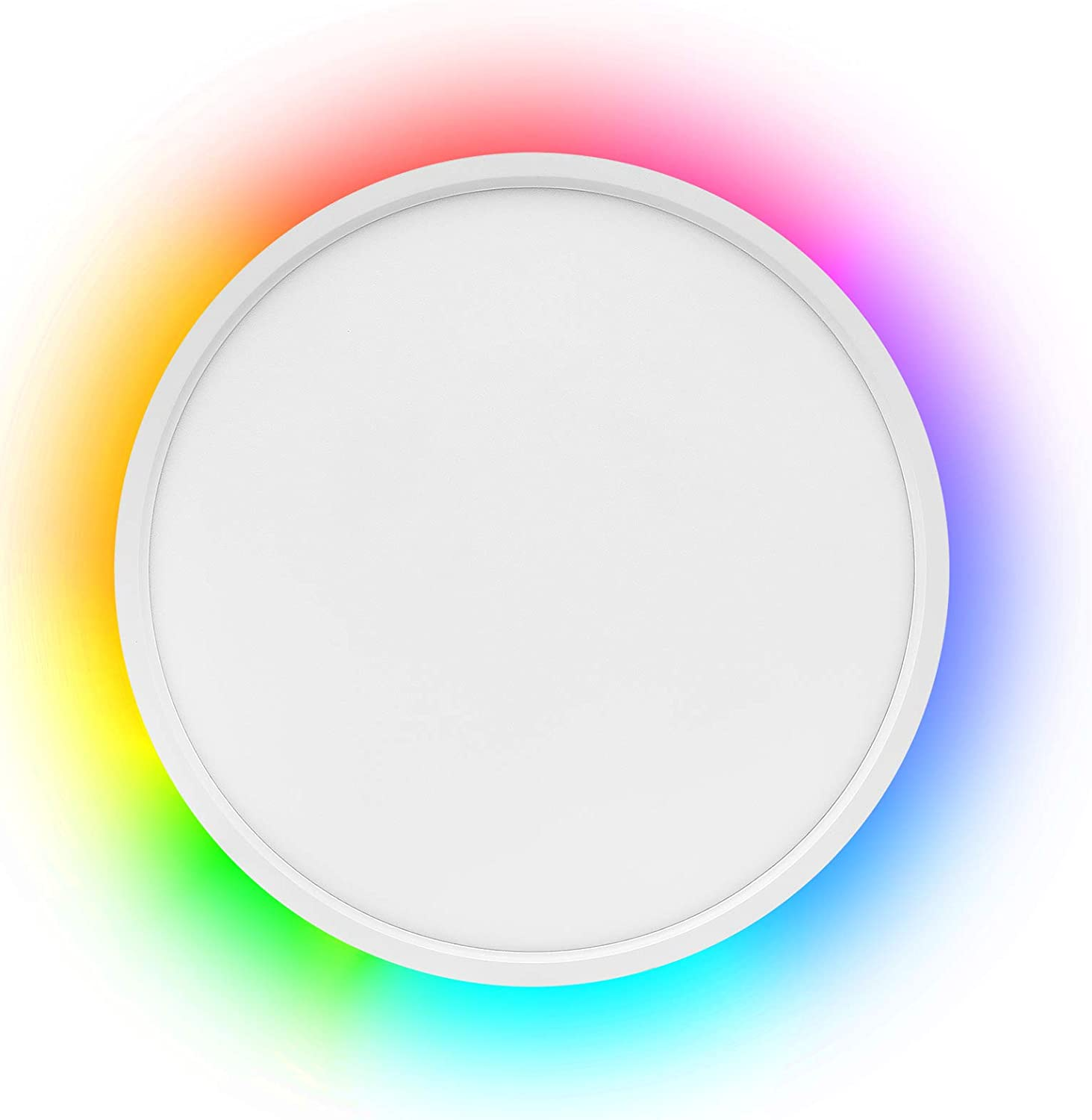Smart LED Flush Mount Ceiling Light WiFi, Compatible with Alexa Google Home, 12inch 24W 2000LM Adjustable Light with Ambient Light Fixture for Bedroom Living Room Dining Hall Party