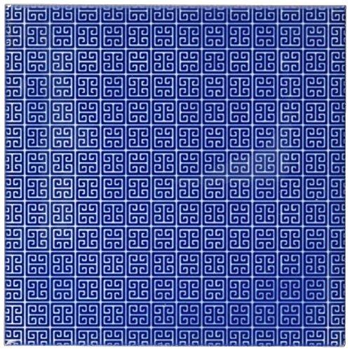 3dRose CST_215889_3 Blue & White Greek Key Pattern Ceramic Tile Coasters, (Set of 4)