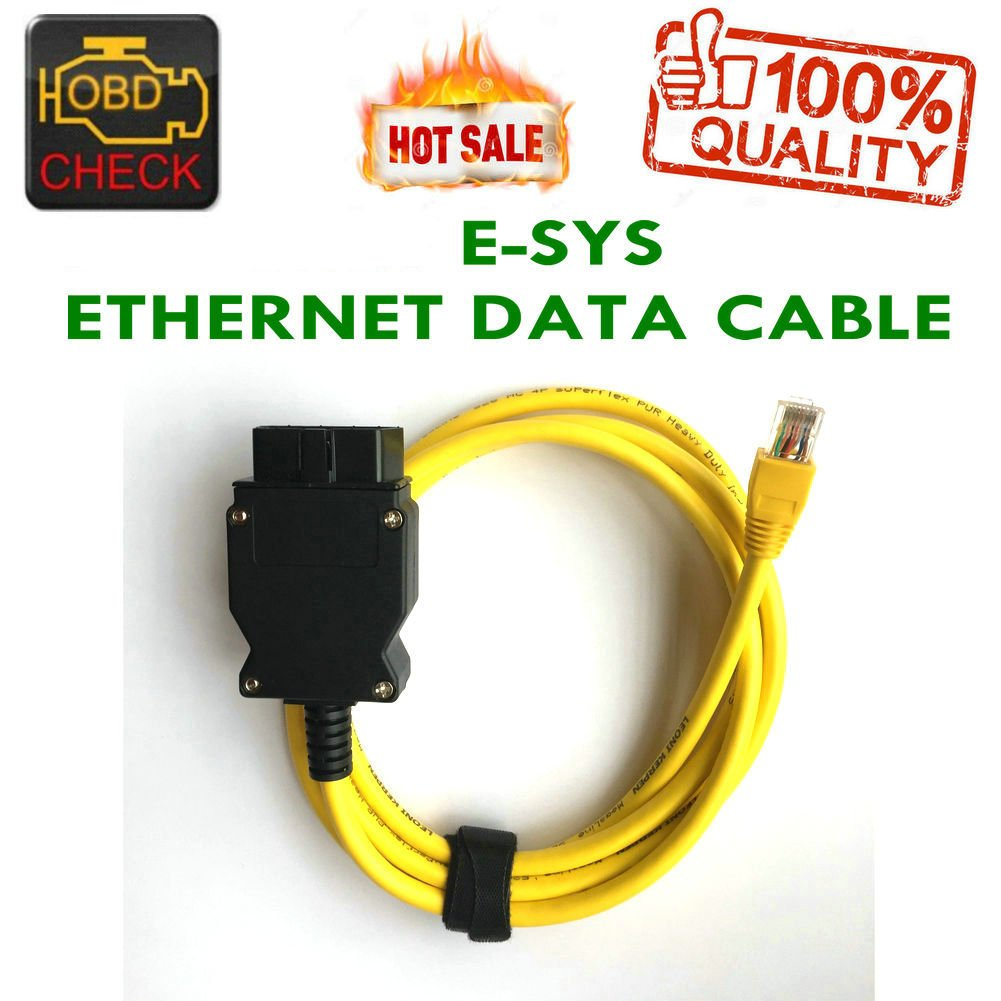 New Ethernet Enet RJ45 Yellow OBD OBDII OBD2 E-SYS ICOM Coding F-series Cable-HR-Tool® HanrainTool