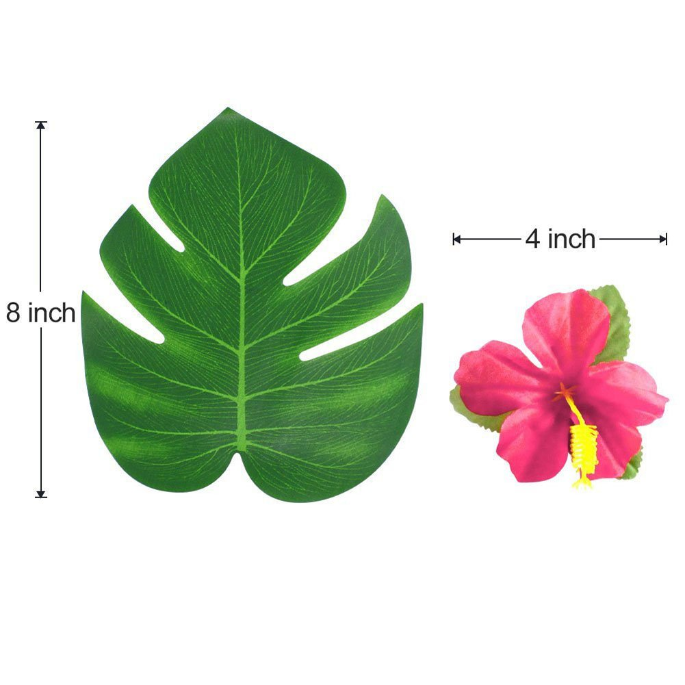 60 Pcs Artificial Tropical Plant Palm Monstera Leaves And Hibiscus