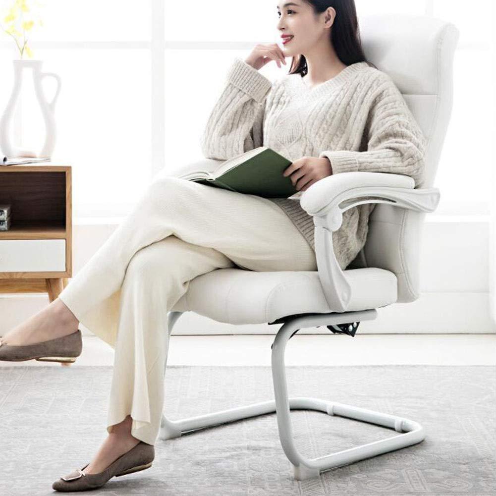 DALL kontorsskrivbordsstol PU-kudde ergonomisk 140° lutningsfunktion datorspelstol rosett fot fast armstöd konferensstol (färg: svart) Vitt