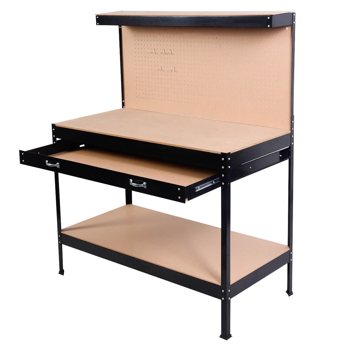 Work Bench Tool Storage Steel Frame Tool Workshop Table W/ Drawer and Peg Boar by allgoodsdelight365 (Image #8)