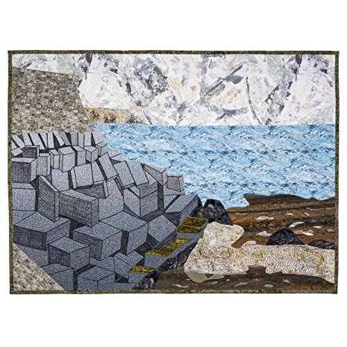 CÁDIZ BREAKWATER - original mixed media fiber art by Patricia Gould by Angel Fire Designs