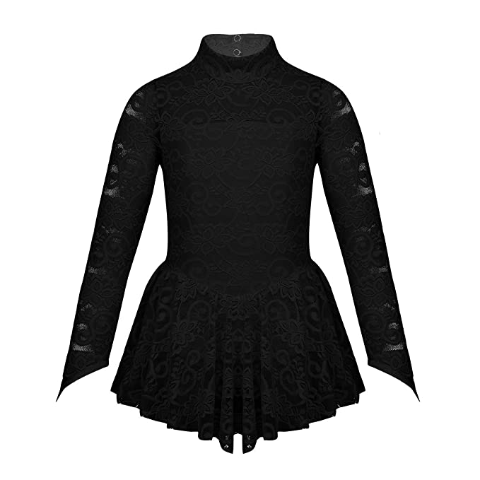 532a7a6dd Amazon.com  dPois Kids Girls  One-Piece Long Sleeves Floral Lace Ice ...