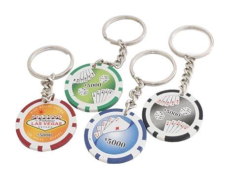 Pack De 4 Casino Fichas De Póker Llaveros