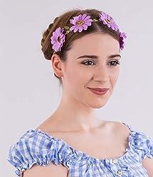 "SIX""Blumen"" Haarband, Haarreif, Blumenkranz, Blüten, Festivals, Karneval, Oktoberfest, lila, braun (456-153)"
