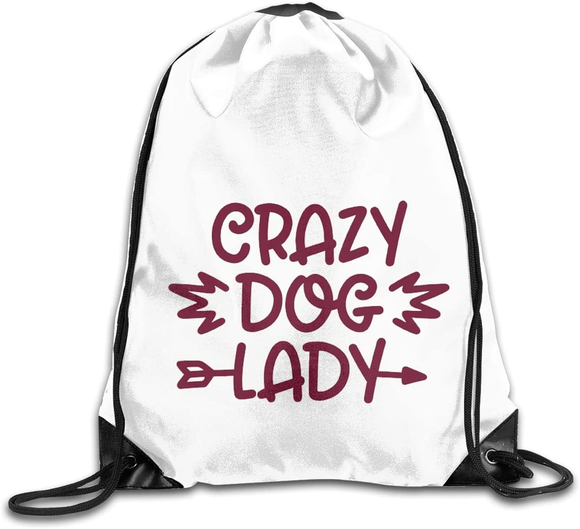 Crazy Dog Drawstring Bags Eat Sleep Dance Repeat Beam Mouth Backpack Basketball Tennis Gympack