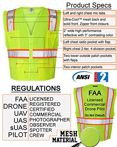 Custom Safety Reflective Mesh Vest with Zipper - Personalized Drone Pilot Vest by Safety Miracle (Image #2)