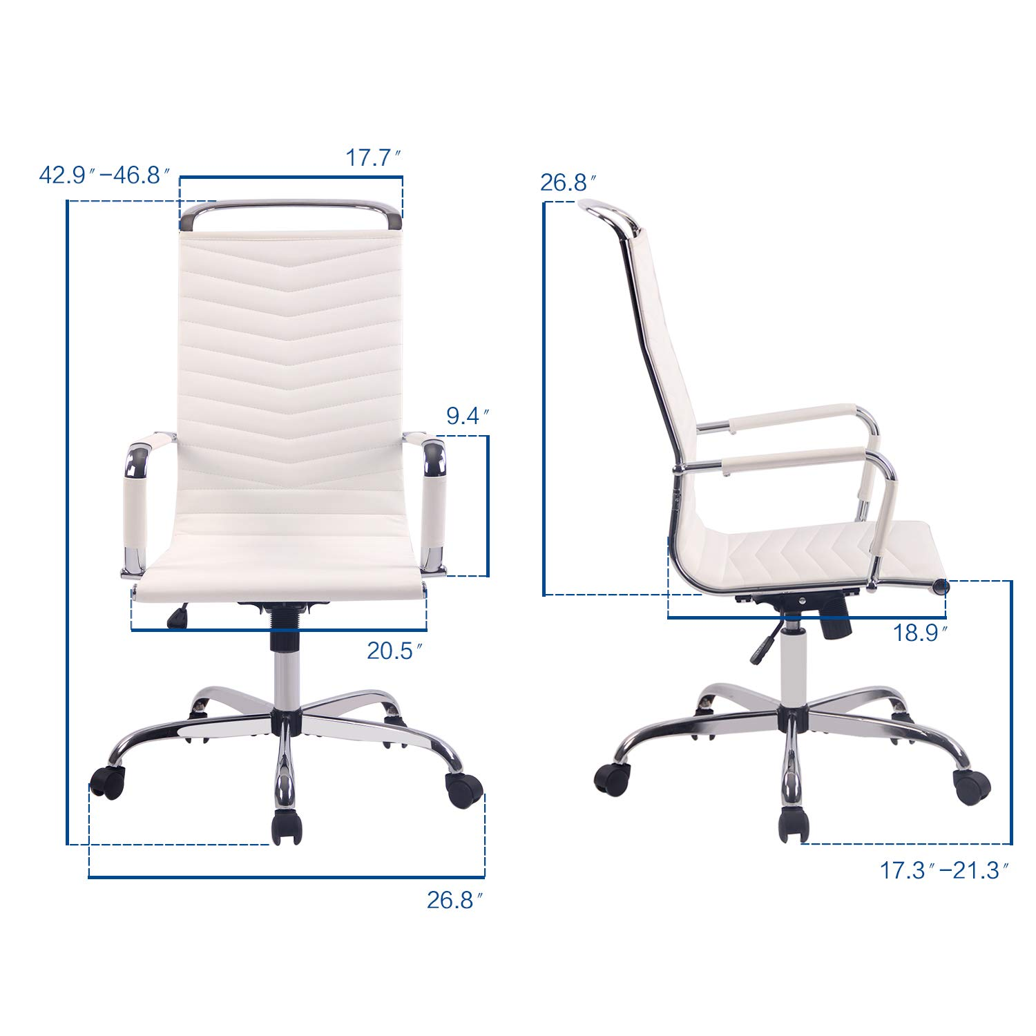 Elecwish, 2PCS Adjustable Office Executive Chair, High Back Tall Ribbed, Pu Leather, Wheels Arm Rest Computer, Chrome Base, Home Furniture, Conference ...