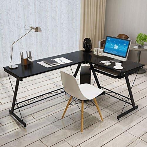 robusta scrivania per computer con forma ad angolo con base per CPU perfetta per la casa e lufficio Black con base per tastiera estraibile HLC