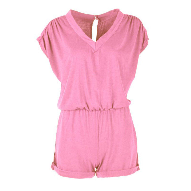 Rainlife Womens V Neck Mini Playsuit JumpsuitBeach Combination Pink L