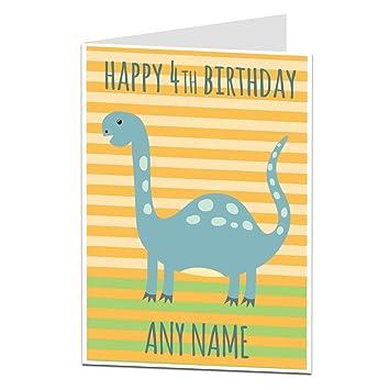 Personalised 4th Birthday Card Dinosaur Theme For Boys Girls Son Nephew Grandson