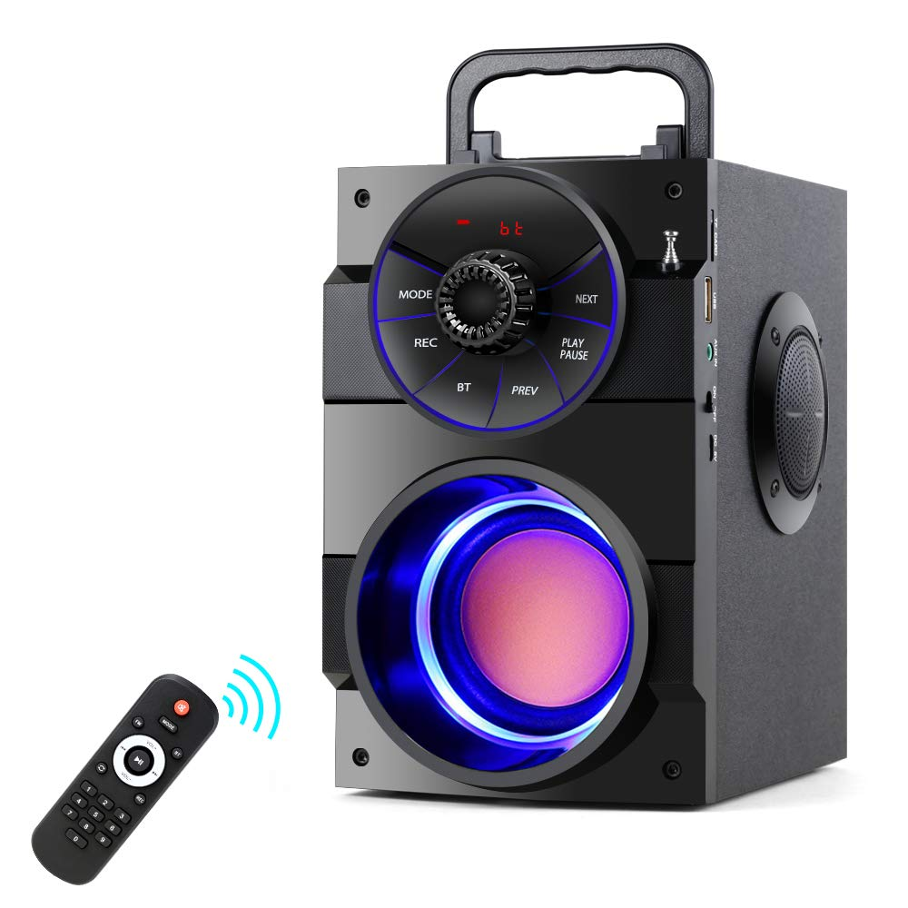 TAMPROAD Portable Bluetooth Speakers with Subwoofer Rich Bass Wireless Outdoor/Indoor Party Speakers MP3 Player – Remote Control FM Radio
