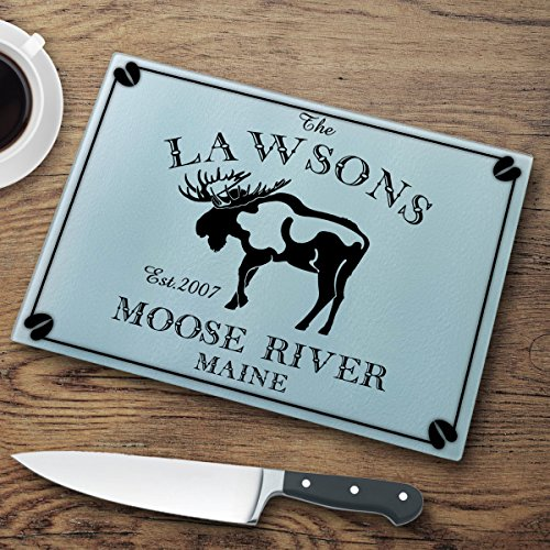 Personalized Cabin Series Glass Cutting Board - Moose ()